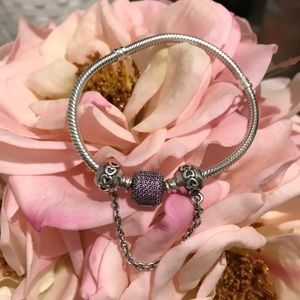 Authentic pandora bracelet with pink pave clasp